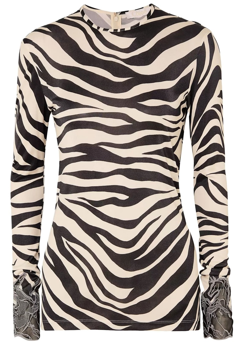 Chloé Woman Embroidered Mesh-trimmed Zebra-print Satin-jersey Top Animal Print
