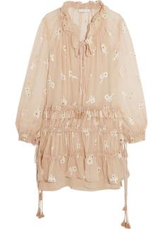 Chloé Woman Embroidered Silk-chiffon Mini Dress Beige