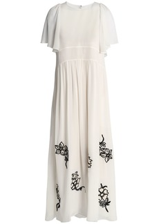 Chloé Woman Embroidered Silk-georgette Maxi Dress Ivory