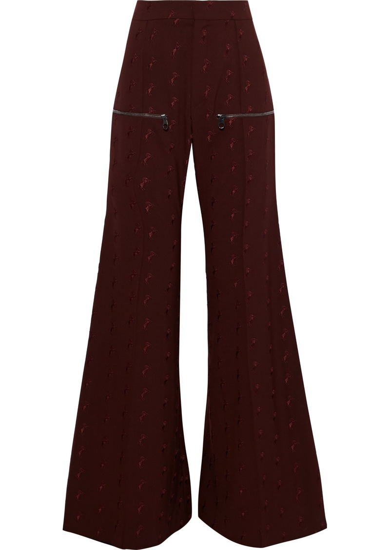 Chloé Woman Embroidered Stretch-wool Flared Pants Brick