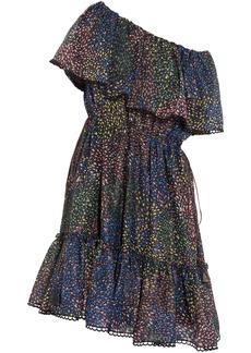 Chloé Woman Firework Off-the-shoulder Metallic Printed Cotton-blend Mini Dress Navy