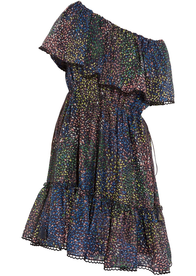 Chloé Woman Firework Off-the-shoulder Metallic Printed Cotton-blend Mini Dress Navy