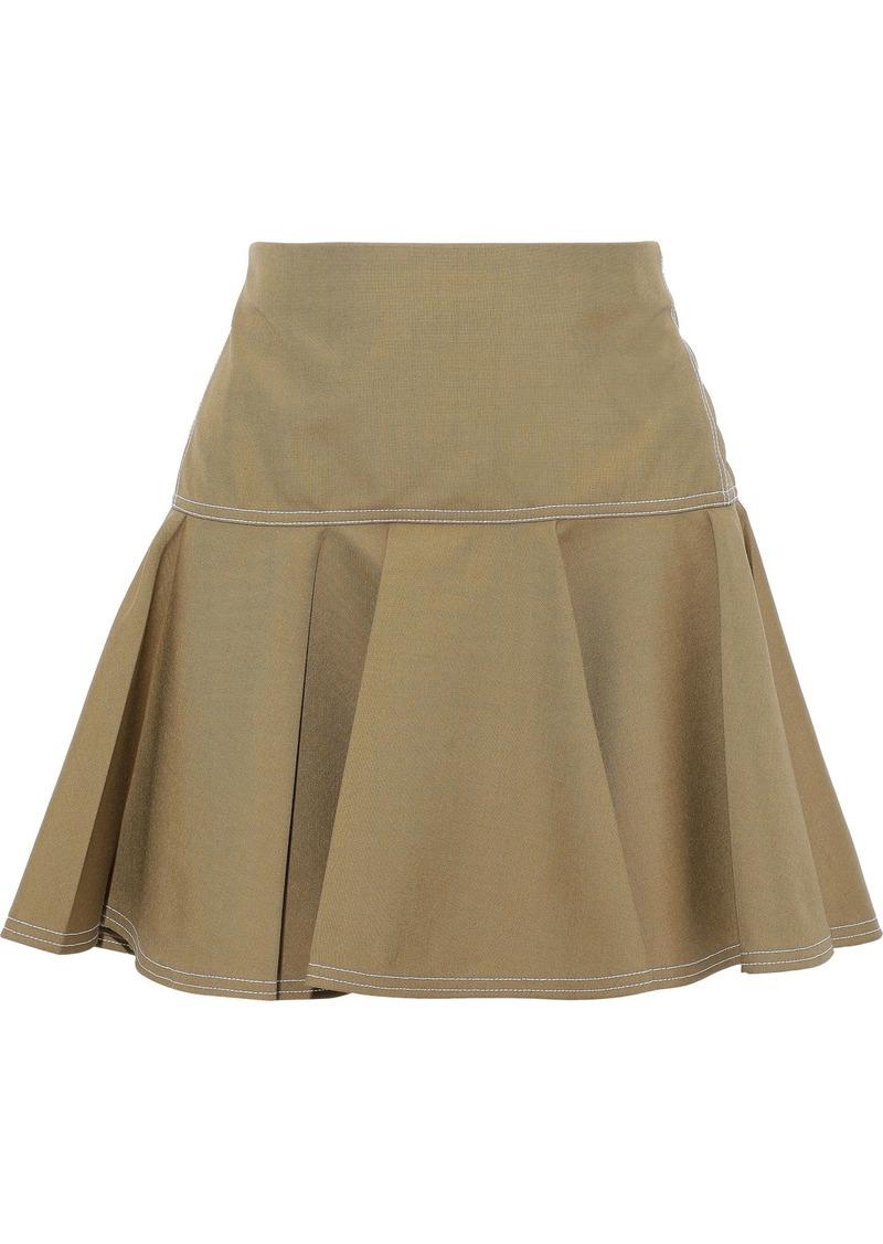Chloé Woman Flared Woven Mini Skirt Army Green