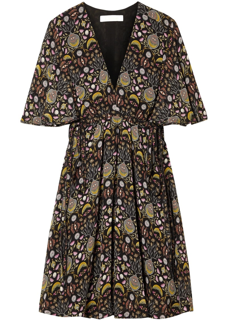 Chloé Woman Floral-print Georgette Mini Dress Black