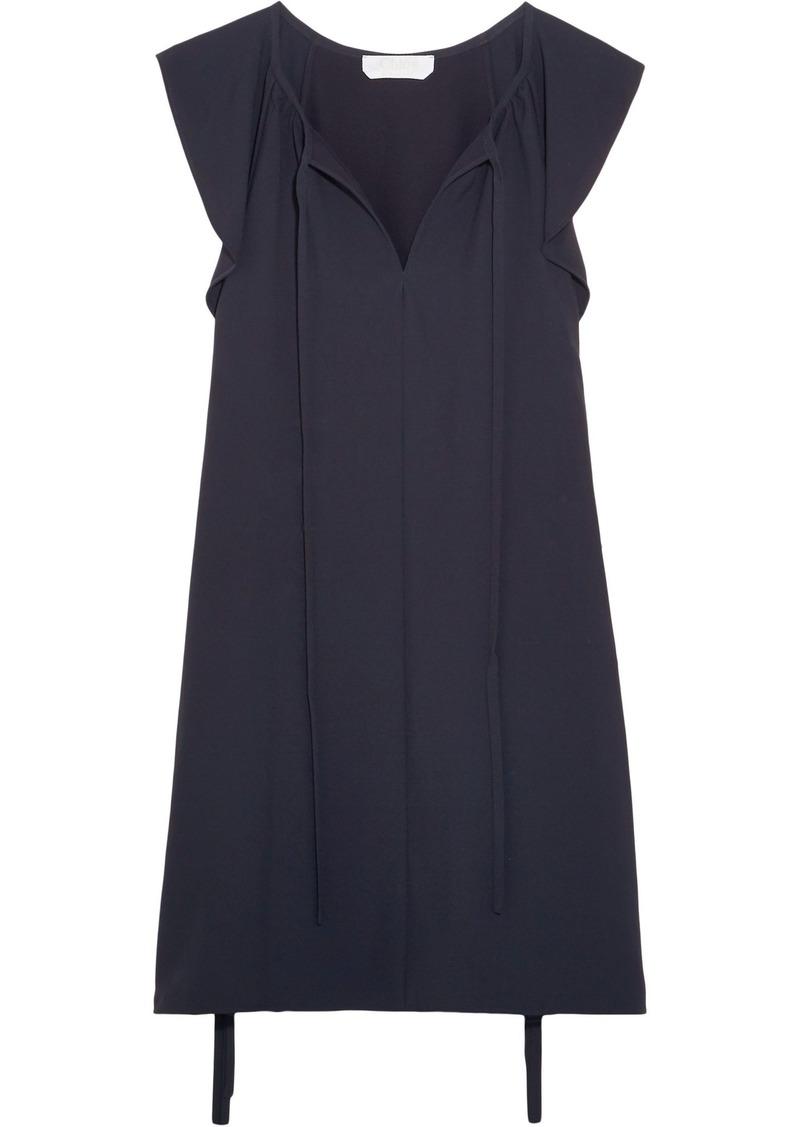 Chloé Woman Ruffled Cady Mini Dress Navy