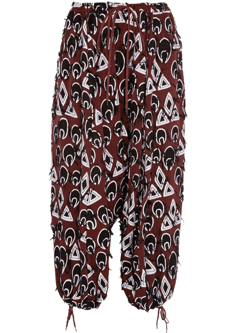 Chloé Woman Frayed Embroidered Crepe Tapered Pants Burgundy