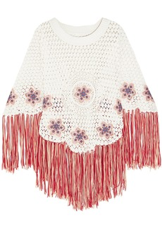 Chloé Woman Fringed Embroidered Crocheted Cotton Poncho White