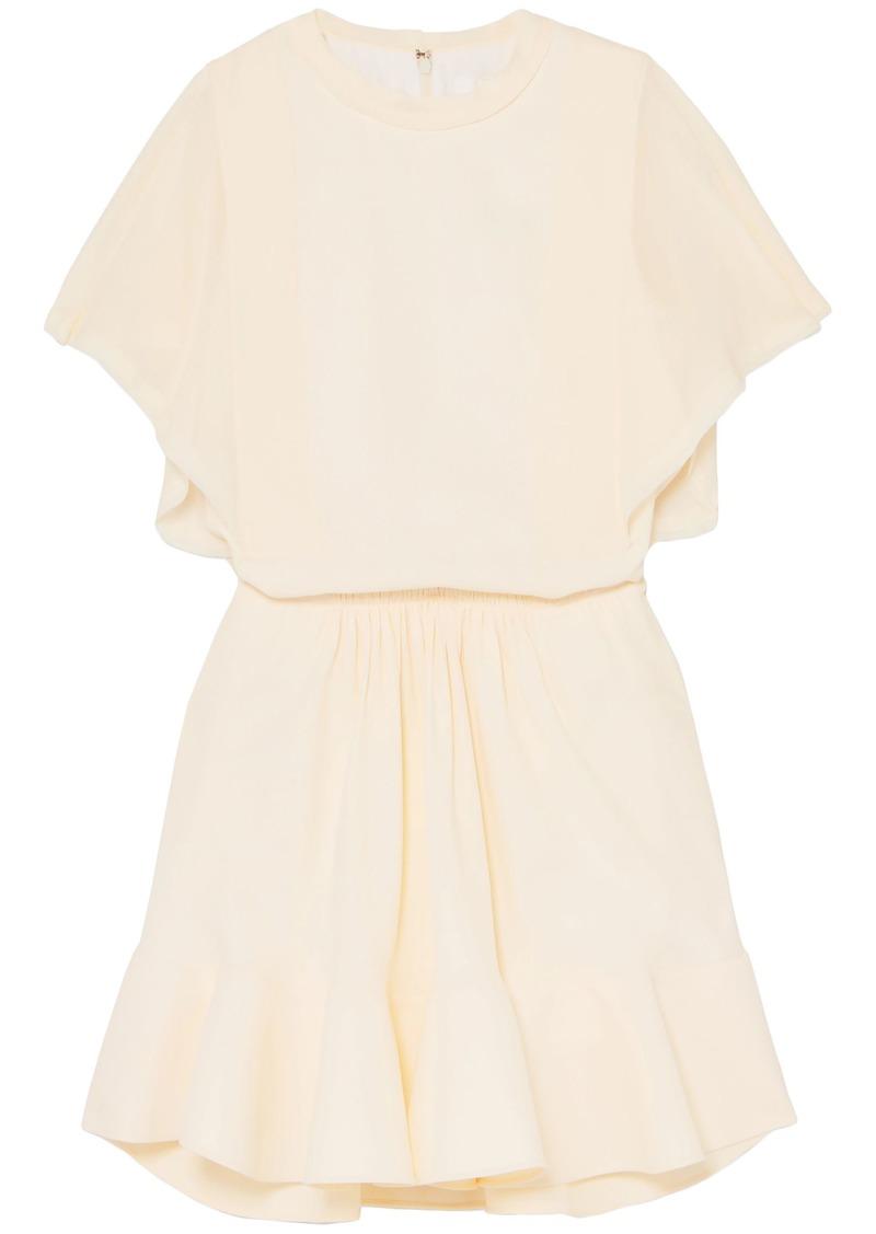 Chloé Woman Gathered Crepe De Chine Mini Dress Cream