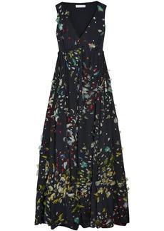 Chloé Woman Gathered Fil Coupé Silk-georgette Gown Black