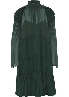 Chloé Woman Gathered Ruffle-trimmed Silk-georgette Dress Forest Green
