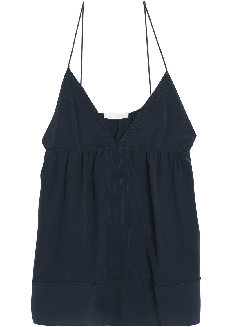 Chloé Woman Gathered Silk Crepe De Chine Camisole Blue
