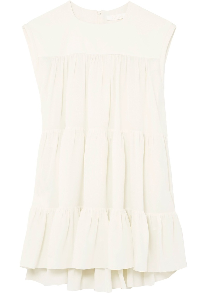Chloé Woman Gathered Silk Crepe De Chine Top Ivory