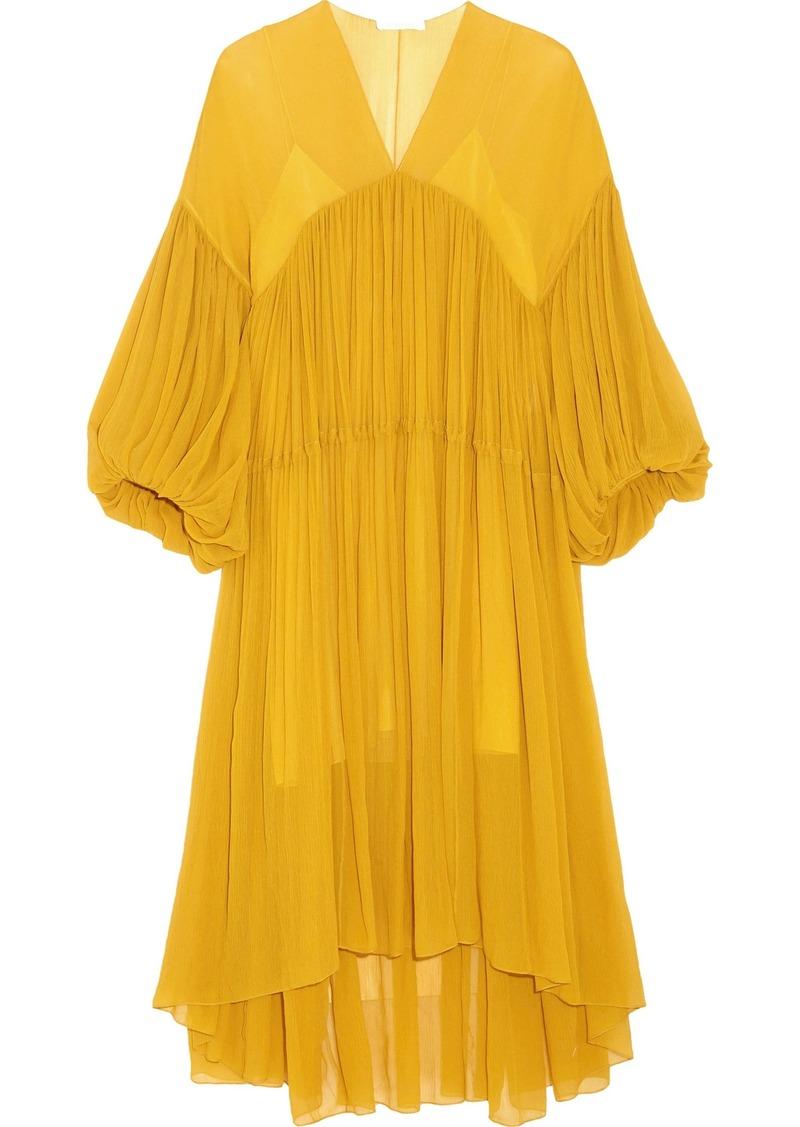 Chloé Woman Gathered Silk-georgette Midi Dress Yellow