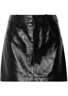 Chloé Woman Glossed Textured-leather Mini Skirt Black