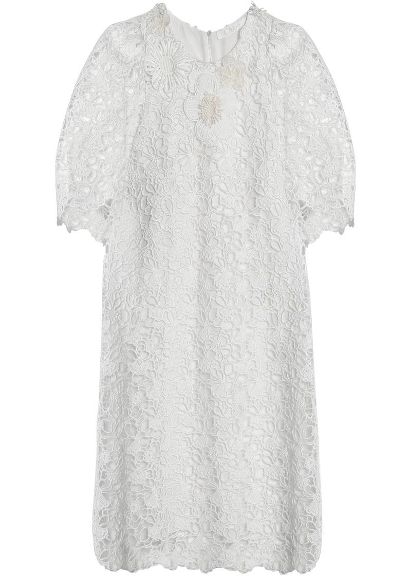 Chloé Woman Floral-appliquéd Cotton Guipure Lace Mini Dress White