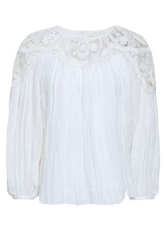 Chloé Woman Guipure Lace-paneled Crinkled-linen Blouse Ivory