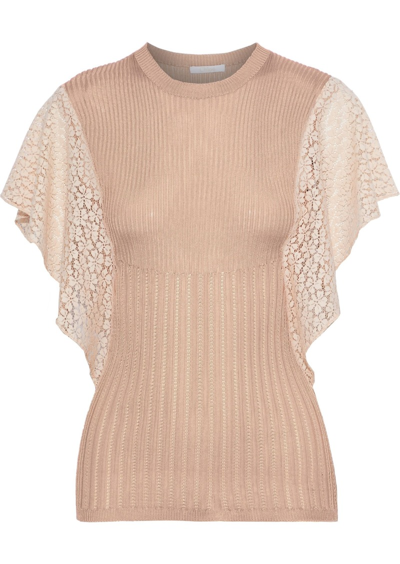 Chloé Woman Guipure Lace-paneled Open And Ribbed-knit Top Antique Rose