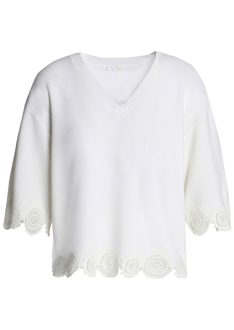 Chloé Woman Guipure Lace-trimmed Wool Top Ivory