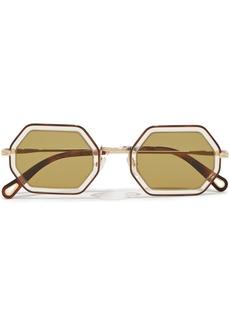 Chloé Woman Hexagon-frame Tortoiseshell Acetate And Gold-tone Sunglasses Leaf Green