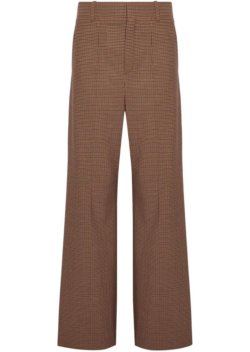 Chloé Woman Houndstooth Jacquard Wide-leg Pants Light Brown