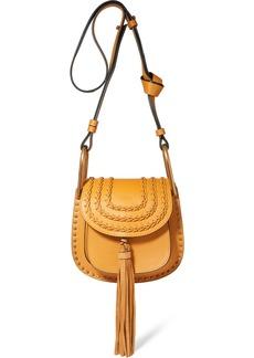 Chloé Woman Hudson Mini Tasseled Studded Leather Shoulder Bag Saffron