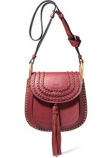 Chloé Woman Hudson Small Tasseled Studded Leather Shoulder Bag Claret