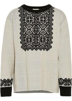 Chloé Woman Intarsia Wool Sweater Black