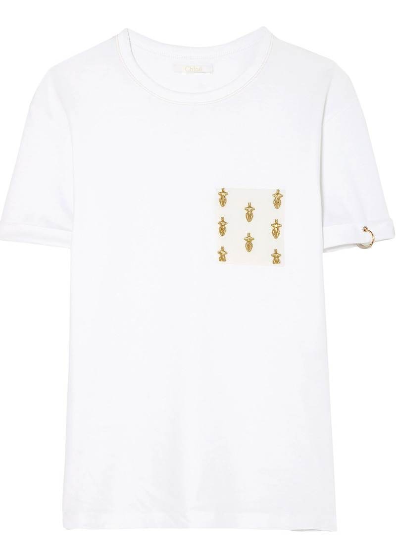 Chloé Woman International Women's Day Embellished Cotton-jersey T-shirt White