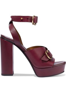 Chloé Woman Kingsley Buckled Leather Platform Sandals Burgundy