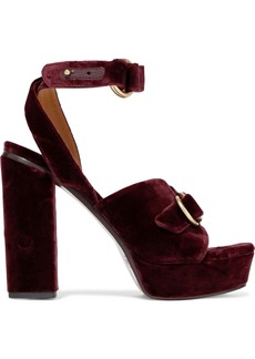 Chloé Woman Kingsley Buckled Velvet Platform Sandals Burgundy