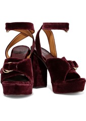 Chloé Woman Kingsley Buckled Velvet Platform Sandals Burgundy