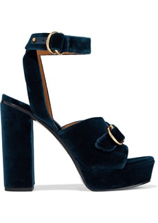 Chloé Woman Kingsley Buckled Velvet Platform Sandals Storm Blue