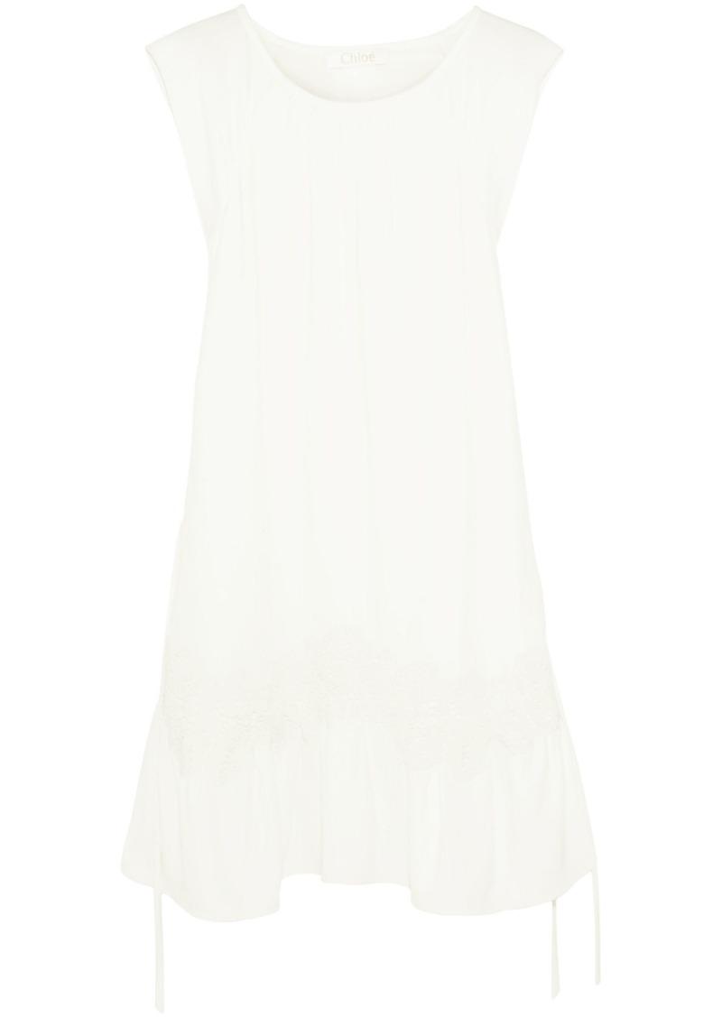 Chloé Woman Lace-appliquéd Cady Mini Dress Ivory