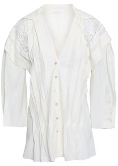 Chloé Woman Lace-paneled Crepe De Chine Shirt Ivory