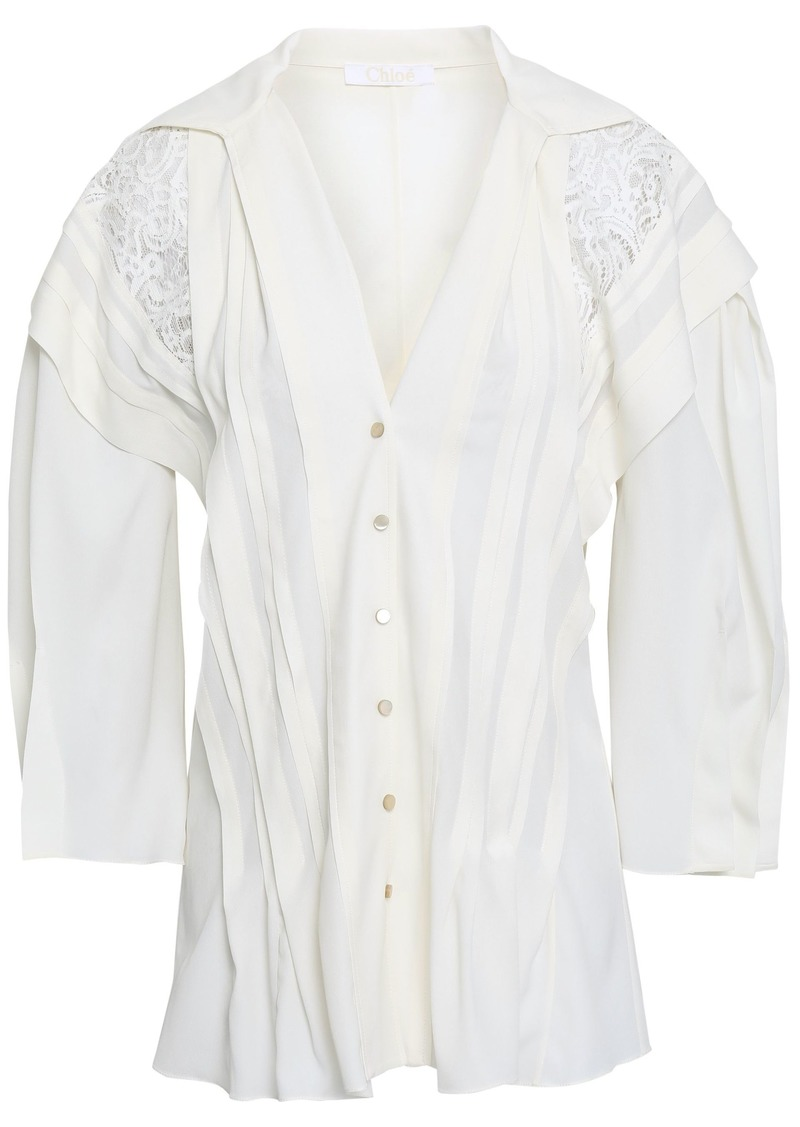 Chloé Woman Lace-paneled Crepe De Chine Shirt Ivory