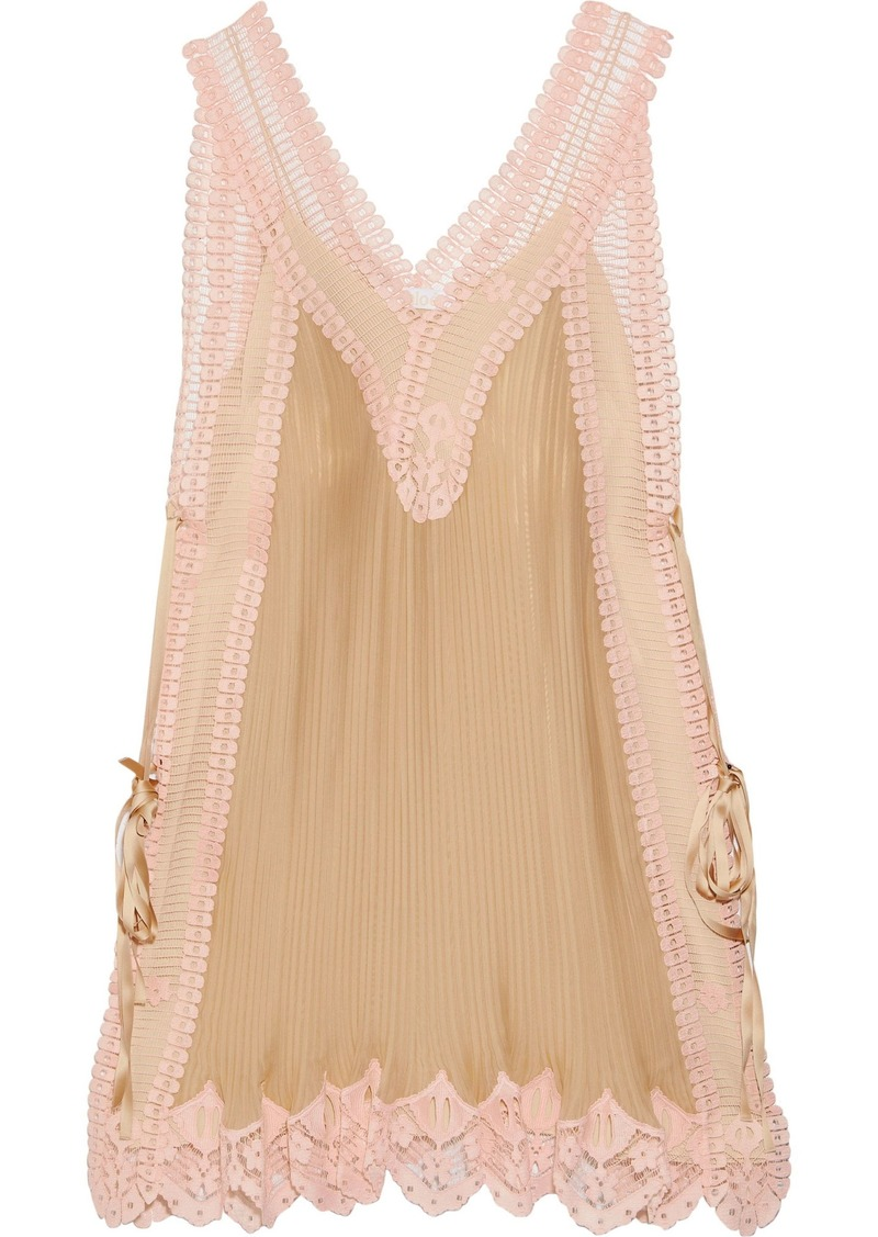 Chloé Woman Lace-paneled Plissé-silk Mini Dress Pastel Pink