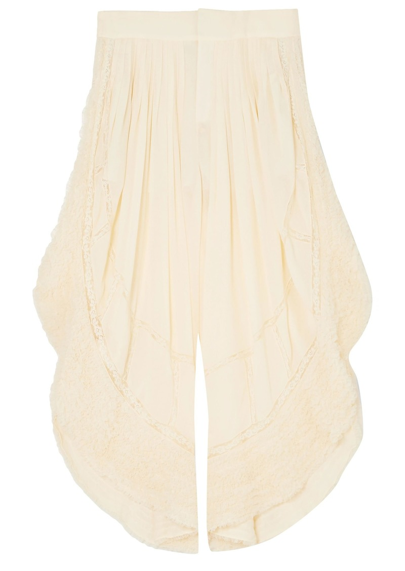 Chloé Woman Lace-trimmed Crepe Wide-leg Pants Cream