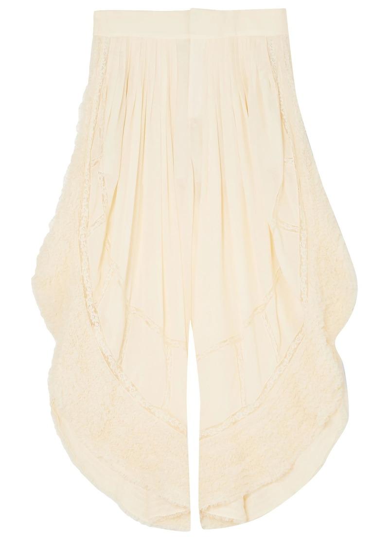 Chloé Woman Lace-trimmed Crepe Wide-leg Pants Cream