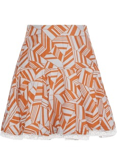 Chloé Woman Lace-trimmed Pleated Printed Silk Mini Skirt Orange