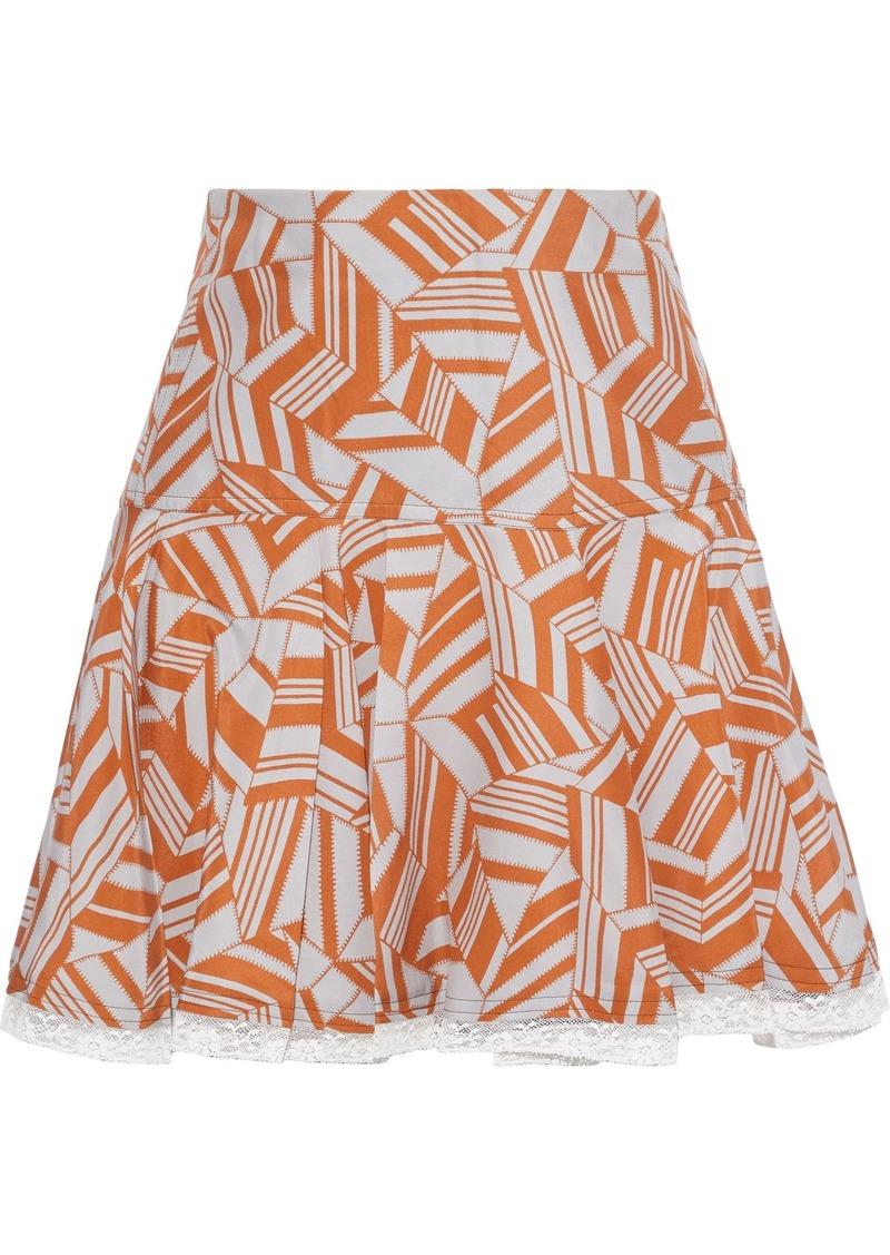 Chloé Woman Lace-trimmed Pleated Printed Silk Mini Skirt Orange