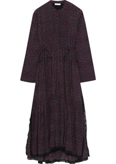 Chloé Woman Lace-trimmed Printed Cotton And Silk-blend Midi Dress Black