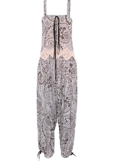 Chloé Woman Lace-trimmed Printed Gauze Jumpsuit Purple