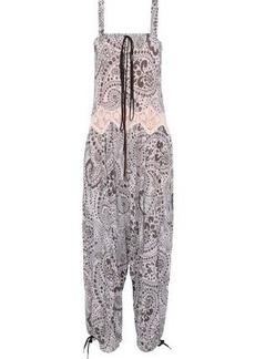 Chloé Woman Lace-trimmed Printed Gauze Jumpsuit Purple