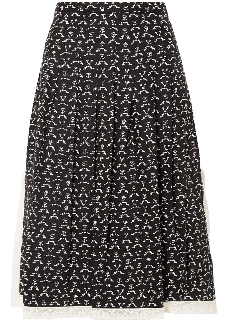 Chloé Woman Lace-trimmed Printed Silk Crepe De Chine Skirt Black