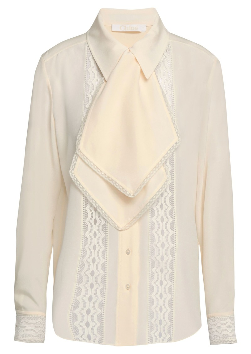 Chloé Woman Lace-trimmed Silk Crepe De Chine Blouse Cream