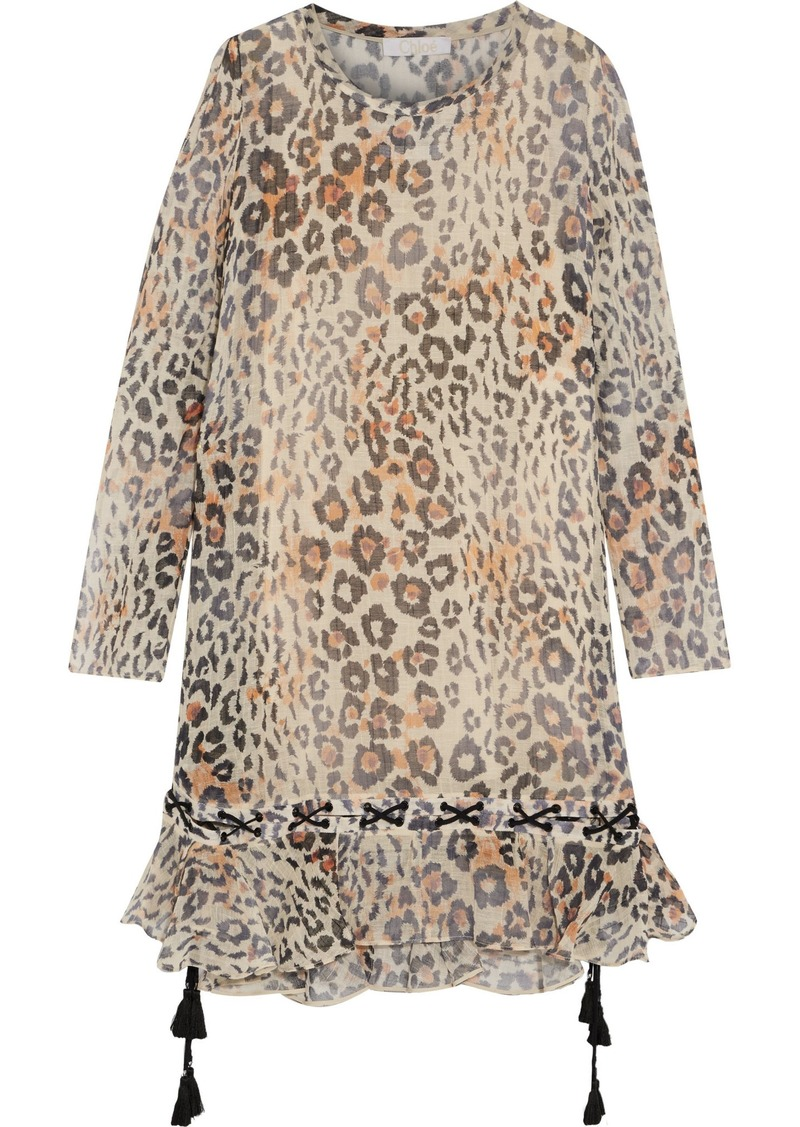 Chloé Woman Lace-up Ruffled Leopard-print Cotton-blend Gauze Dress Sand