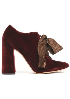 Chloé Woman Lace-up Velvet Pumps Merlot