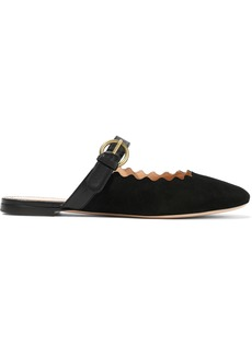 Chloé Woman Lauren Leather-trimmed Suede Slippers Black