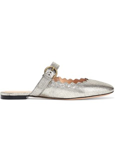 Chloé Woman Lauren Leather-trimmed Suede Slippers Platinum