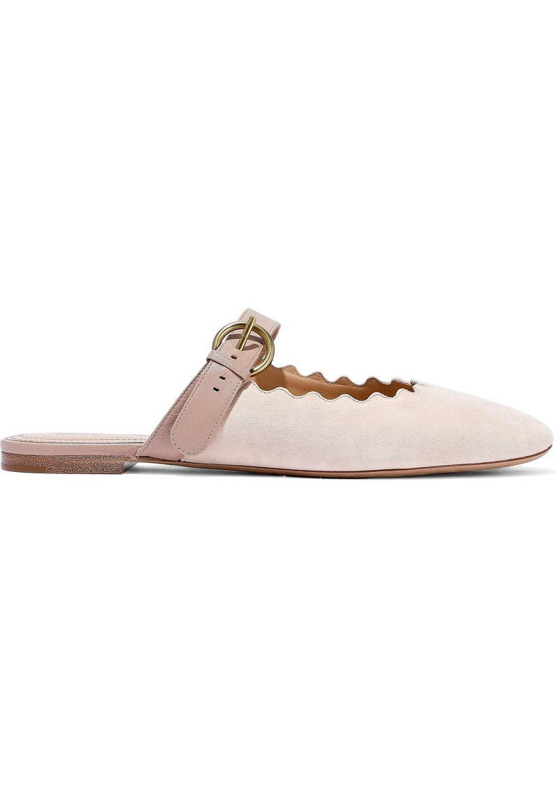 Chloé Woman Lauren Leather-trimmed Suede Slippers Blush